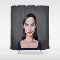 tyler spangler Shower Curtains featuring Celebrity Sunday ~ Liv Tyler by rob art | illustration