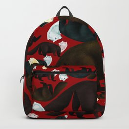 Marten tropical pattern Red Backpack