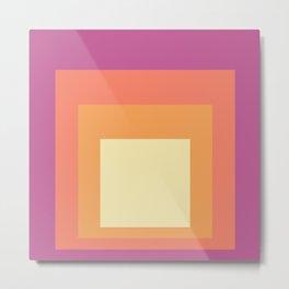 Block Colors - Pink Orange Cream Metal Print