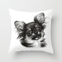 chihuahua Throw Pillows featuring Chihuahua by Danguole Serstinskaja