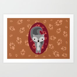 Squirrel with Paw Prints Art Print