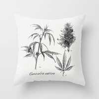 cannabis Throw Pillows featuring Cannabis sativa by 420Illustrations