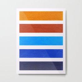 Blue & Brown Geometric Pattern Metal Print