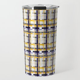 Grey Plaid Travel Mug