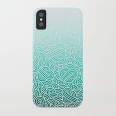 Ombre turquoise blue and white swirls doodles iPhone X Slim Case