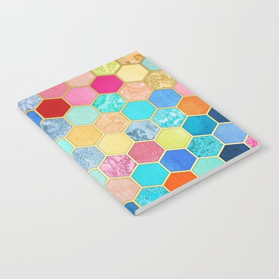 Patterned Honeycomb Patchwork in Jewel Colors Notebook