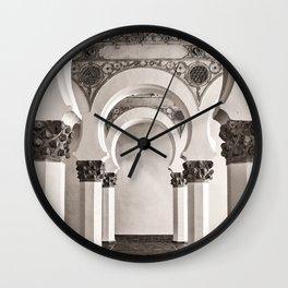 The Historic Arches in the Synagogue of Santa María la Blanca, Toledo Spain Wall Clock