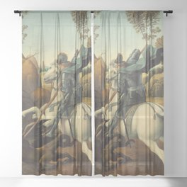 Saint George and the Dragon Oil Painting By Raphael Sheer Curtain