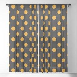 Polka Dots (Classic Orange & Black Pattern) Sheer Curtain