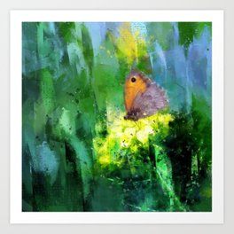 Meadow Brown Butterfly On Brassica Flower Painterly Photo Art Art Print