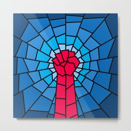 Church of the Revolution / Fist raised in protest on stained glass window Metal Print