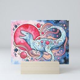 Star Rex   Cosmic Dinosaur Watercolor Mini Art Print