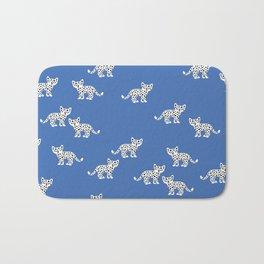 Little baby leopard kids cat pattern eclectic blue Bath Mat