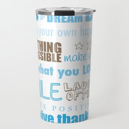 Quote Collage In Blue Travel Mug