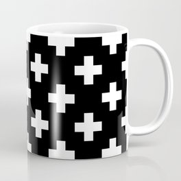 Black & White Plus Sign Pattern Coffee Mug