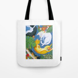 kitties chilling with plants Tote Bag