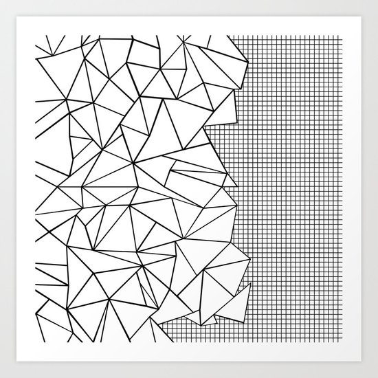 Abstraction Outline Grid on Side White Art Print