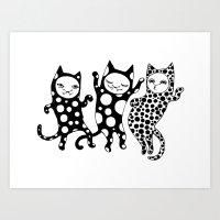 Disco cats Art Print