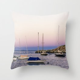 Earth's shadow over the harbor Throw Pillow