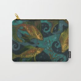 Golden Fish, Black Teal, Underwater Art Carry-All Pouch