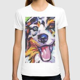 Fun AUSTRALIAN SHEPARD Dog bright colorful Pop Art T-shirt