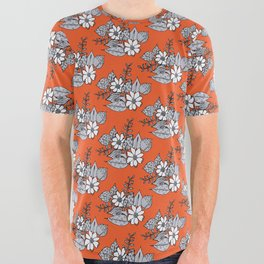 Orangey Gray Floral All Over Graphic Tee