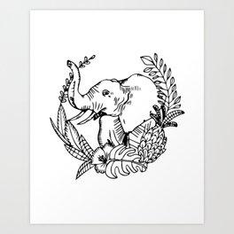 Elephant wreath Art Print
