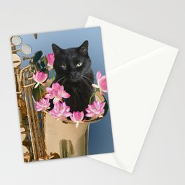 Snoki - Black Cat in Saxophon - Lotos Flower Blossoms  Stationery Cards