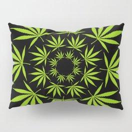 Cannabis Leaf Circle (Black) Pillow Sham