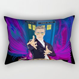 12th Doctor with blue Phone booth Rectangular Pillow