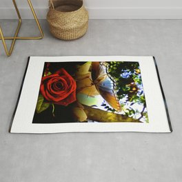 The Butterfly And The Rose Framed Rug