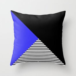 Blue & Black Geometric Abstraction Throw Pillow