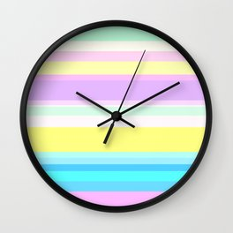 Horizontal stripes rainbow tender Wall Clock