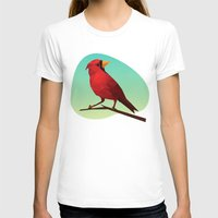 low poly T-shirts featuring Low-poly Red Bird by fortyfive