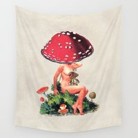 eugenia loli Wall Tapestries featuring Shroom Girl by Eugenia Loli