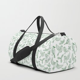 Winter Birds and Foliage Pattern (Green) Duffle Bag