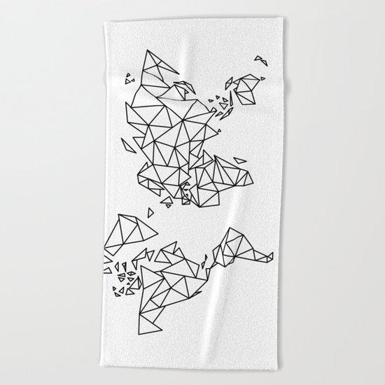 Geometric Low Poly Map of The World / Polygon geometry Beach Towel
