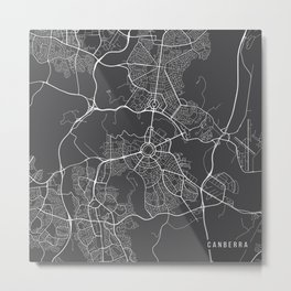 Canberra Map, Australia - Gray Map Metal Print