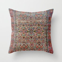 South Persia 19th Century Authentic Colorful Red Pink Blue Vintage Patterns Throw Pillow