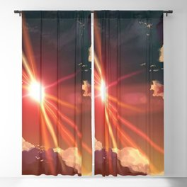 Beautiful Romantic Sunshine Above The Clouds Anime Scenery Ultra High Resolution Blackout Curtain