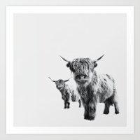 LULU & SARA - Scottish Highland Cows Art Print