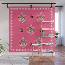 Baby Teddy with Hibiscus Flower Wall Mural