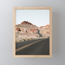 Landscape In Nevada Photo | Road Trough Valley Of Fire State Park Nature Print | Travel Photography Framed Mini Art Print