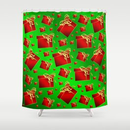 many little red gifts with golden bow on green Shower Curtain
