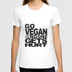 GO VEGAN AND NO ONE GETS HURT MEDIUM Womens Fitted Tee White