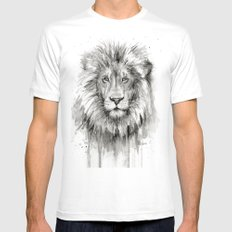 Lion Watercolor Animal Mens Fitted Tee LARGE White