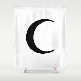 Black Crescent Moon Shower Curtain