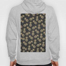 Modern chalk black elegant faux gold pineapple pattern Hoody