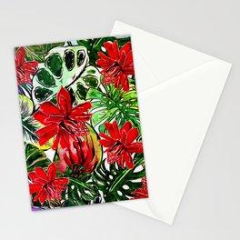 Exotic Passiflora Flowers Jungle Aloha Pattern Stationery Cards
