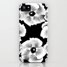 TROPICAL HIBISCUS FLOWERS IN BLACK & WHITE iPhone Case